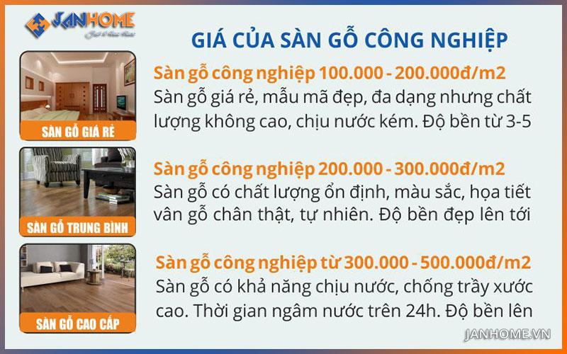 Giá của sàn công nghiệp giao động từ hơn 100k đến trên 500k/m2
