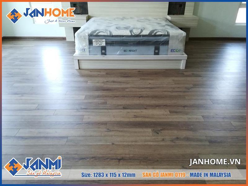 Màu của sàn gỗ công nghiệp Janmi O119 sang trọng, sạch sẽ